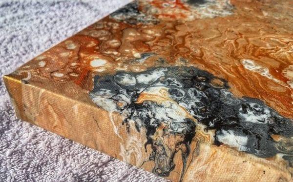 Gold Orange Bloom Acrylic Fluid Painting by Adrian Reynolds
