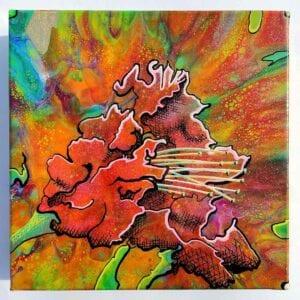 Fluid Flower v1 Acrylic Fluid Painting by Adrian Reynolds