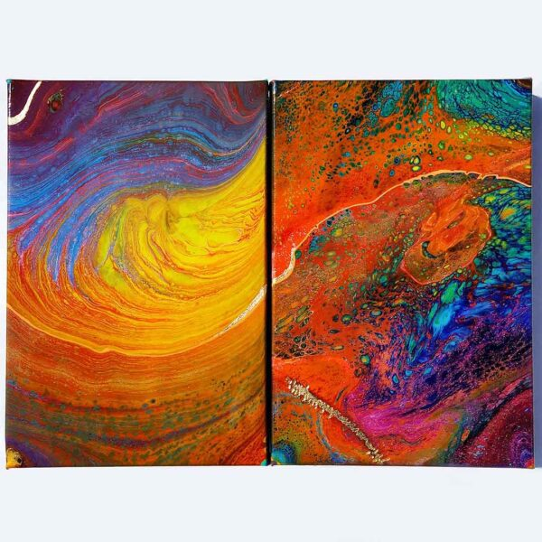 Fluid Galaxy Pair Acrylic Fluid Painting by Adrian Reynolds